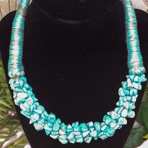 Jewelry - Simulated turquoise stone necklace, NEW